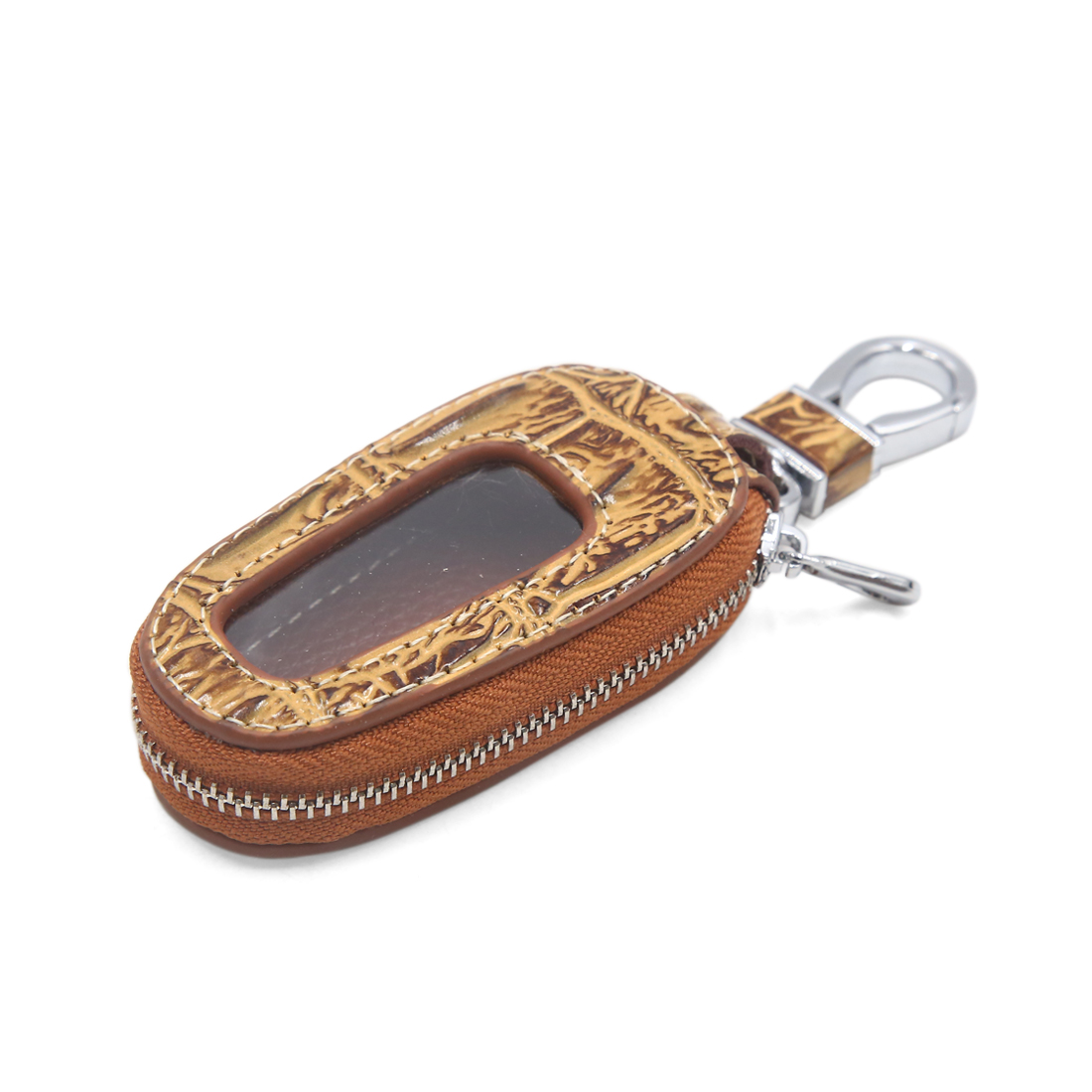 Yellow Crocodile Lines Pattern Zipper Ring Remote Car Key Case Cover Holder Bag