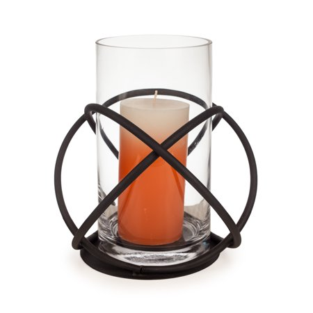 Danya B. Large Metal and Glass Orbits Hurricane Candleholder ()