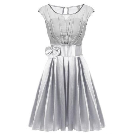 (ACEVOG Women Round Neck Sleeveless Bowtie Ruffle Chiffon Satin Party Cocktail Dress HFON)