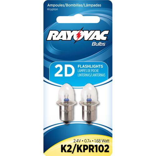 KPR102 Krypton Bulbs for 2D Flashlights 2.4V replacements 2-pack RAYOVAC K2