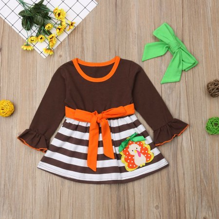1-6Y Baby Girls Thanksgiving Day Striped Party Dress Cute Turkey Printed Outfits ()