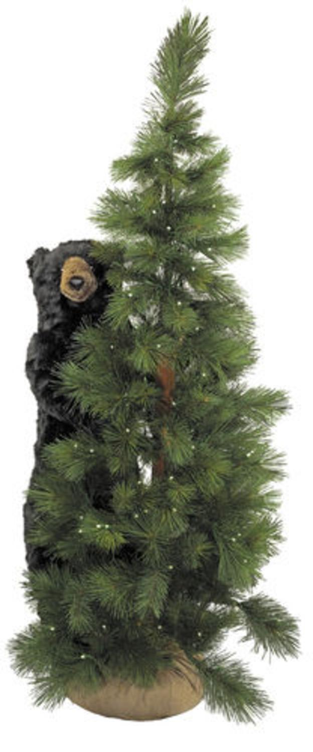 6' Pre-Lit Scotch Pine Artificial Christmas Tree with Black Bear ...