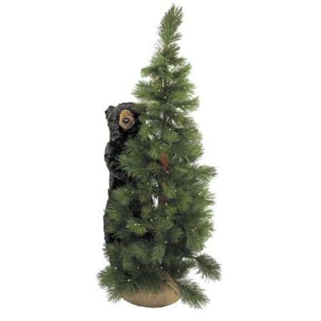 6 Pre Lit Scotch Pine Artificial Christmas Tree With Black Bear Clear Led