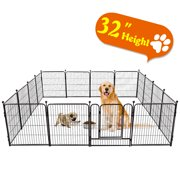 Tooca Heavy Duty Metal Dog Exercise Playpen Fence for Indoor & Outdoor, 16 Panels & 32 Inch Height