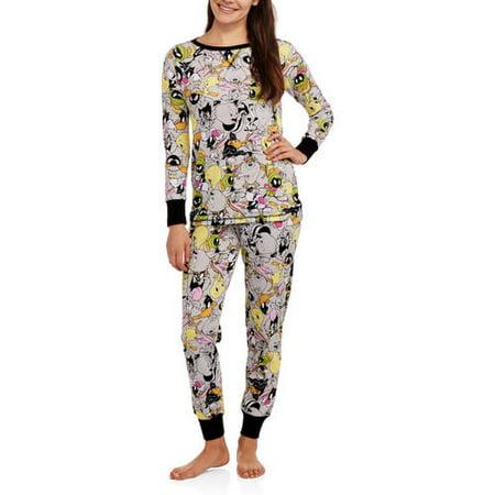 71e3ee77e32 Looney Tunes Women s License Pajama Thermal Sleep Top and Pant 2 Piece  Sleepwear Set