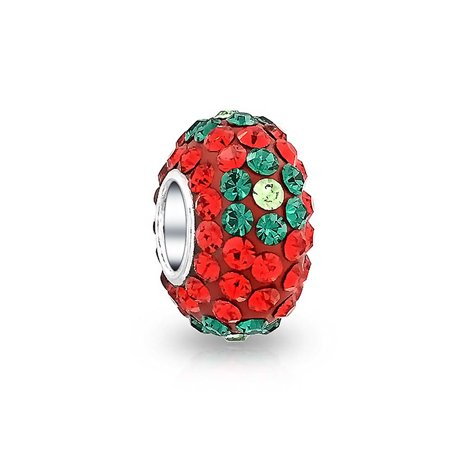 Christmas Holiday Red Green Flower Crystal Spacer Bead Core 925 Sterling Silver Fits European Charm Bracelet For Women Crystal Flower Slide Charm