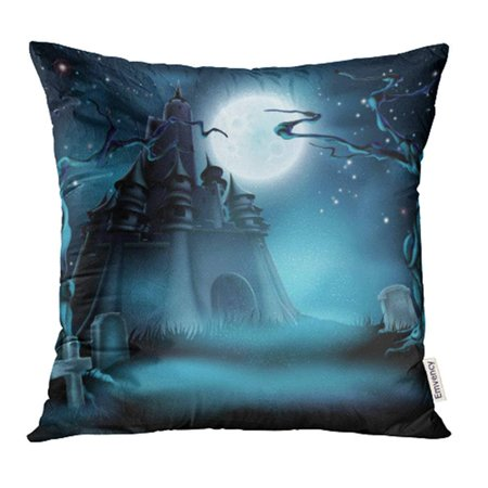 USART Halloween Castle Grave Yard with Spooky Haunted Trees and Graves and Full Moon Pillow Case Pillow Cover 18x18 inch Throw Pillow Covers - Grave Halloween Full