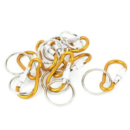 Camping Screw Lock Carabiner Clip Hook Key Ring Chain Ornament 8pcs Orange