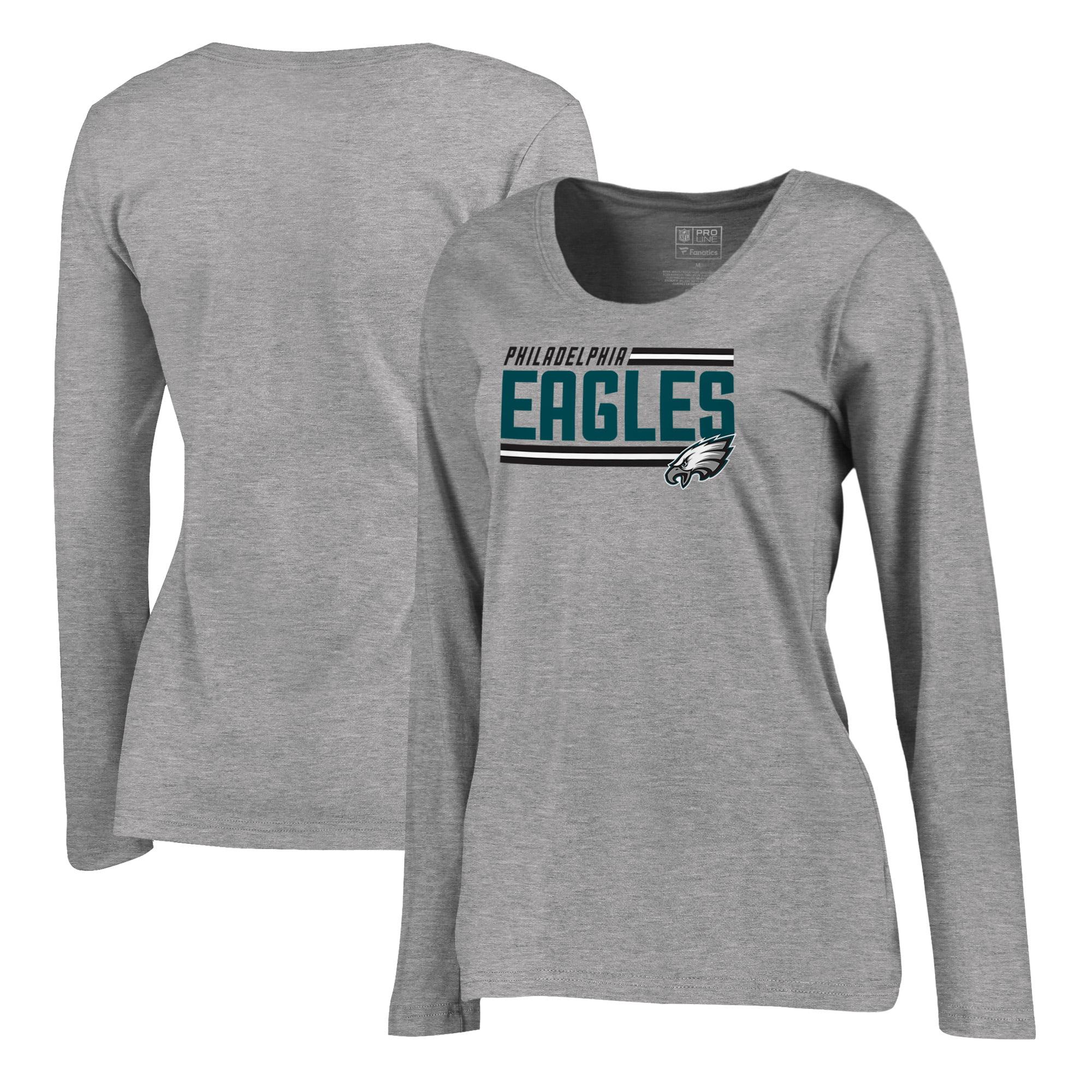 Philadelphia Eagles NFL Pro Line by Fanatics Branded Women's Iconic Collection On Side Stripe Long Sleeve Plus Size T-Shirt - Ash