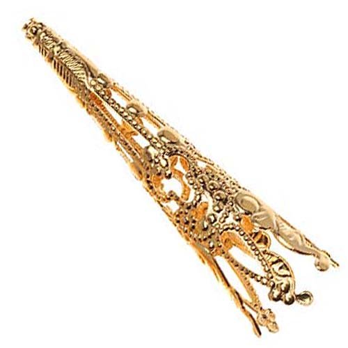 Bright Gold Plated Long Filigree Cone Beads 40mm (4)