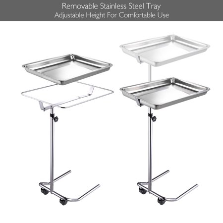 Adjustable Height Mobile Mayo Tray Stand w/ Removable Tray Trolley Medical Salon Equipment Tattoo 22lbs Capacity
