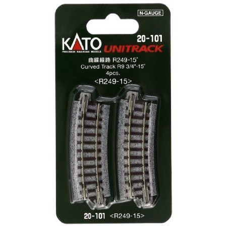 "Kato USA Model Train Products Unitrack, 249mm 9 3/4"" Radius 15-Degree Curve Track 4-Piece"