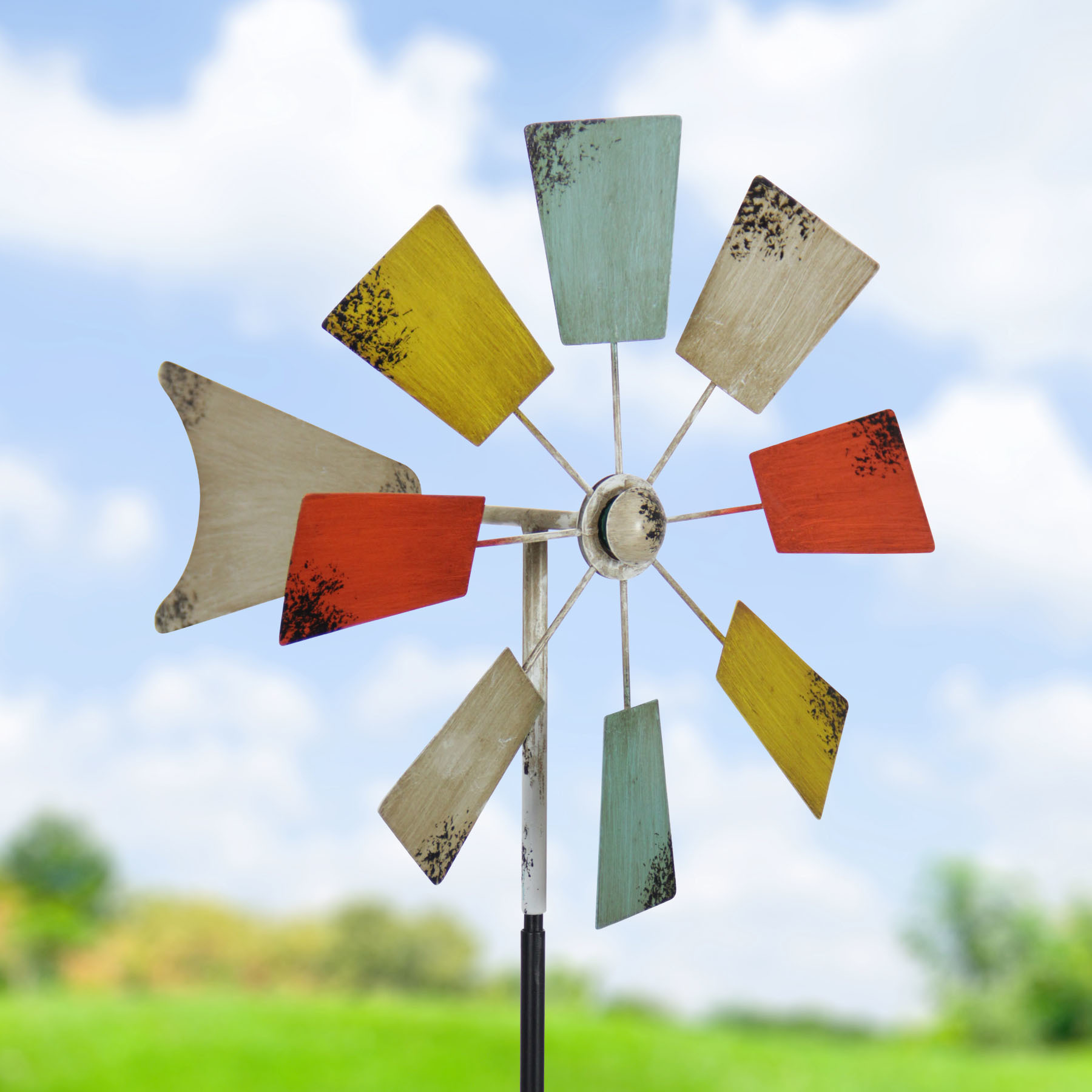 Exhart 16 inch Vintage Wind Mill Garden Stakes - colorful (Square)