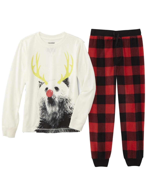 Joe Boxer - Boys Red Plaid Reindeer Pajamas Christmas Sleep Set T ...