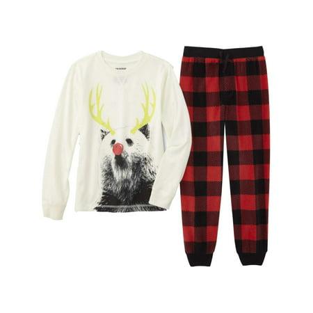 Boys Red Plaid Reindeer Pajamas Christmas Sleep Set T-Shirt & Fleece Pant