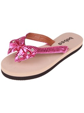 c63424847ce Product Image Enimay Womens Strap Slip on Flip Flop Bow Thong Sandal Black 5
