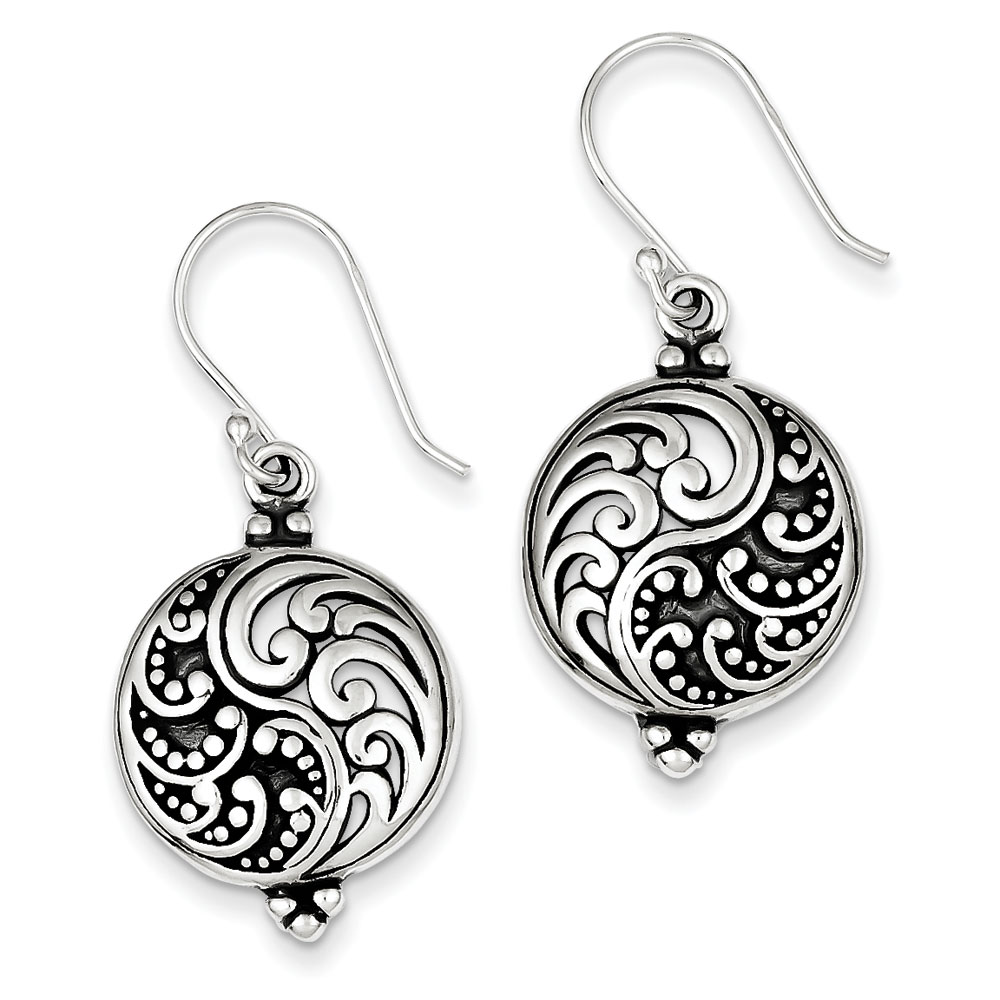 Sterling Silver Antique Filigree Ying and Yang Earrings