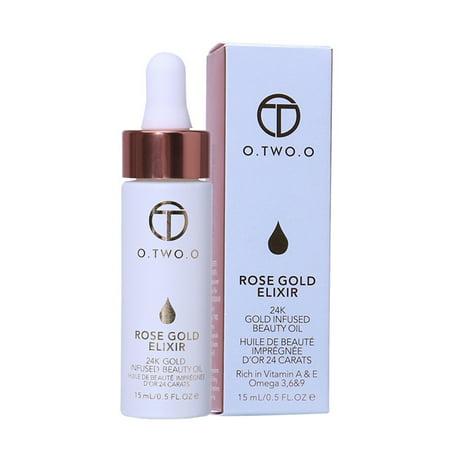 Rose Gold Foil Essence Oil Lip Makeup Base Essence Nourishing Skin Brighten Makeup Foundation Primer Moisturizing Face Oil/15
