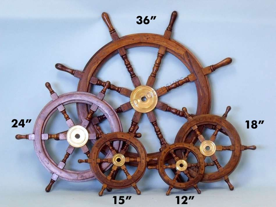 Traditional ship/'s 6 spoke wooden wheel with brass centre section