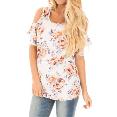 Nlife Women Flouncing Short Sleeve Round Neck Cold Shoulder Floral Printed Shirt Tops Blouse