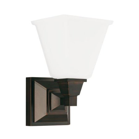 Sea Gull Lighting Denhelm - One Light Wall Sconce, Burnt Sienna Finish with Etched/White (Burnt Sienna Glass)