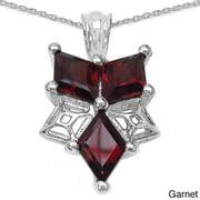 JEWELRYAUCTIONSTV Sterling Silver Genuine Three-gemstone Necklace