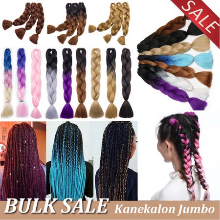 S-noilite 24 Inches 5pcs/lot Ombre Braiding Hair Synthetic Braiding Hair Two Tone Ombre Jumbo Braids Hair Extensions Twist Crochet Hair dark blue to light (Hair Braided To The Side With Weave)