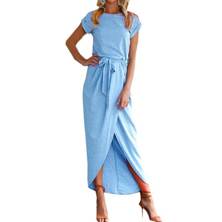 Ladies Crew Neck Short Sleeve Belted Dress Front Slit Plain Office Dress