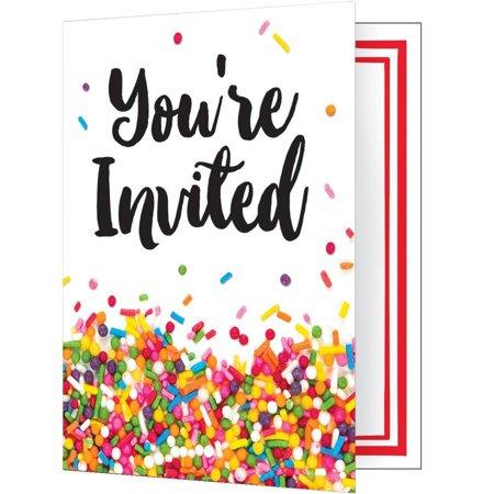 Baby Sprinkle Invitations (Creative Converting Sprinkles Invitation, Foldover, 8)