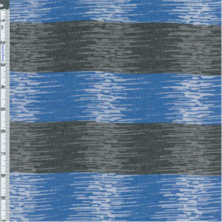 Blue/Charcoal Striped Burnout Jersey Knit, Fabric By the Yard (Burnout Fabric)