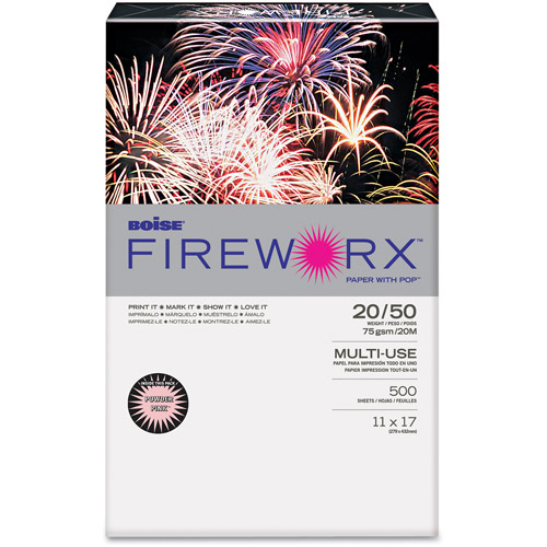 "Boise FIREWORX Colored Paper, 20 lb, 11"" x 17"", Powder Pink, 500 Sheets/Ream"