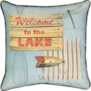 Manual Climaweave Indoor/Outdoor Square Decorative Throw Pillow, 18-Inch, Welcome to The Lake