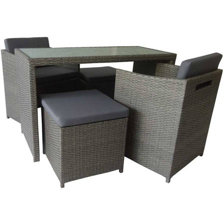 Aleko Rf04fo Indoor Outdoor Foggia Wicker 5 Piece Furniture Set Tempered Gl Coffee Table Gray Color With Cushions