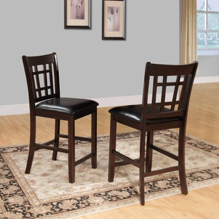 Weston Home Counter Height Chair, Set of 2, Dark Cherry