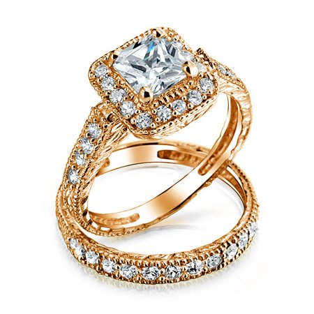 Square Princess Cut Halo AAA CZ Pave Band Engagement Wedding Ring Set For Women Rose Gold Plated 925 Sterling Silver Cz Square Pave Ring