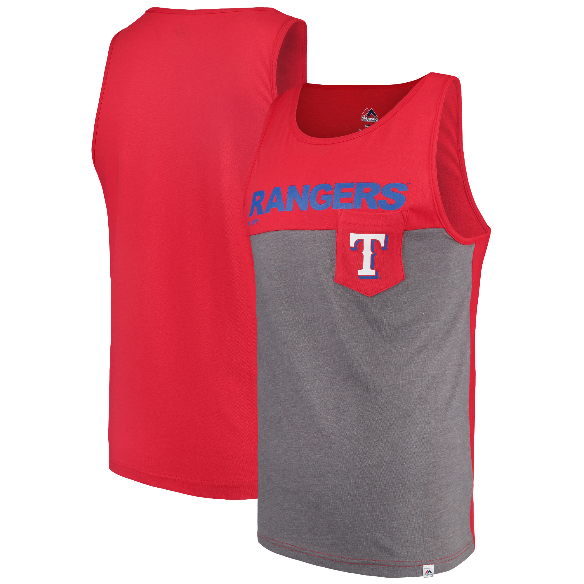 Texas Rangers Majestic Throw the Towel Pocket Tank Top - Red/Gray