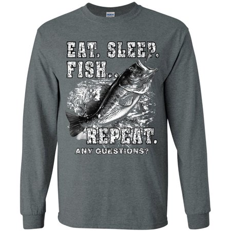 Gray Long Sleeve Tee (Eat Sleep Fish Funny Bass Fishing T-shirt Men's Long Sleeve Tee Gray )