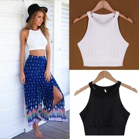 The worth buy New  Women\'s Fashion Sleeveless O-Neck Sexy Slim Casual Solid Crop Top