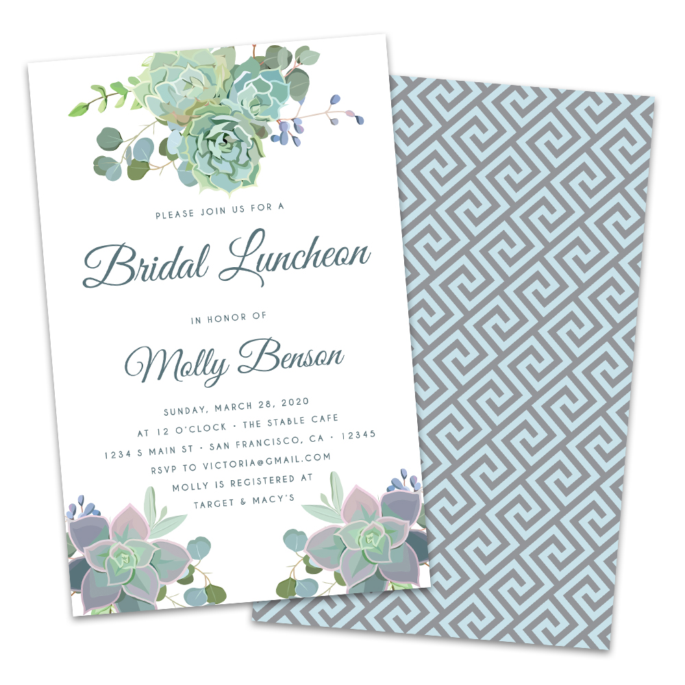 Personalized Succulents Bridal Luncheon Invitations