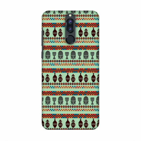 Frosted Plastic Case - Huawei Honor 9i Case - Masks and pottery- Frost blue, Hard Plastic Back Cover, Slim Profile Cute Printed Designer Snap on Case with Screen Cleaning Kit