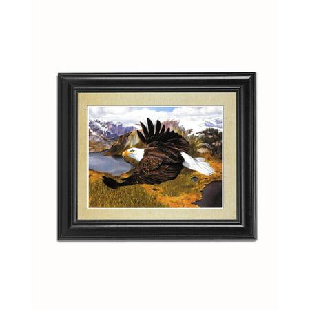 American Bald Eagle in Flight over Mountains Black Framed 8x10 Art Print
