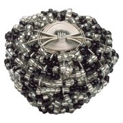 Atlas Homewares Bollywood Collection Beaded Weave Round Cabinet Knob - 1.5 in. - Aqua and Silver