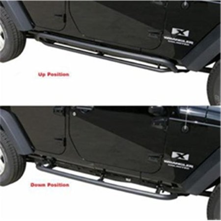 Rampage 88732 Retractable Rockerguard Step Wrangler Jk 4 Dr 07-13 Textured Finish - image 2 of 2