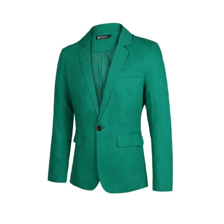Unique-Bargains Men's Slim Fit Inside Pocket One Button Closure Casual Blazer Green (Size M / 38) - Kids Green Blazer