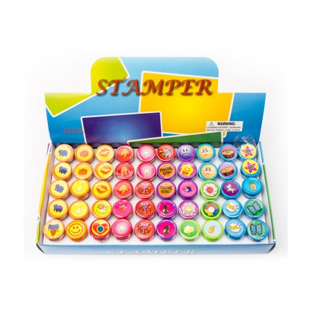 Custom For Kids (Fun Central (AU199) 50 pcs Assorted Kids Stampers, Personal Rubber Stamps for Kids, Custom Stamper)