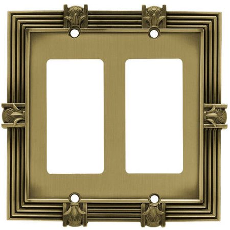 Double Gfci Solid Brass - Franklin Brass Pineapple Double Decorator / GFCI Wall Plate, Available in Multiple Colors