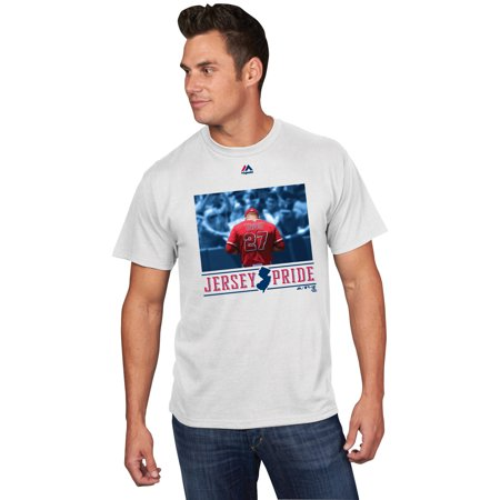 Mens Majestic Mike Trout White Los Angeles Angels New Jersey Pride Photo T Shirt