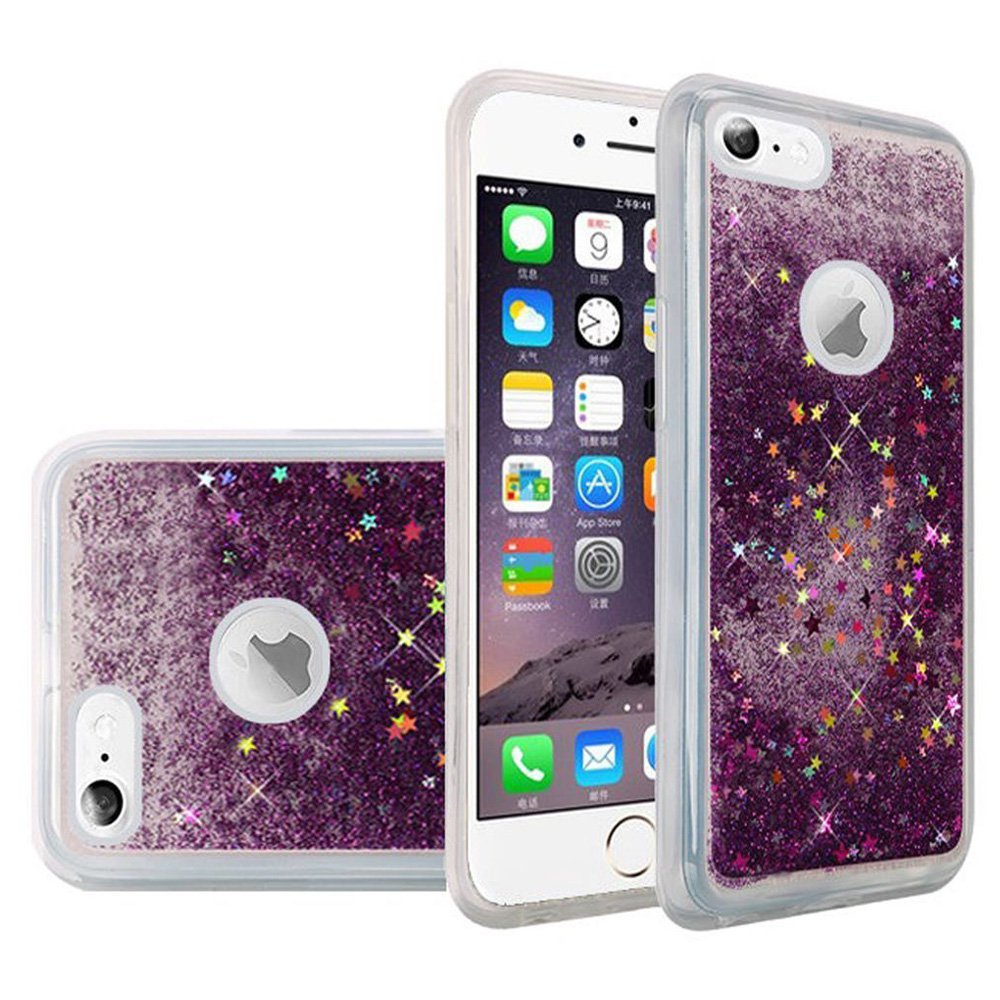 iPhone 6S Case Premium Luxury Glitter Sparkle Bling Hybrid Quicksand Designer Cover Fashion TPU Cover for Apple iPhone 6, iPhone 6S - Purple, Flexible, Slim, ShockProof