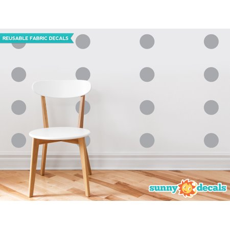 Polka Dot Fabric Wall Decals -  Set of 48 Four Inch Dots - Reusable, Repositionable - 21 Color