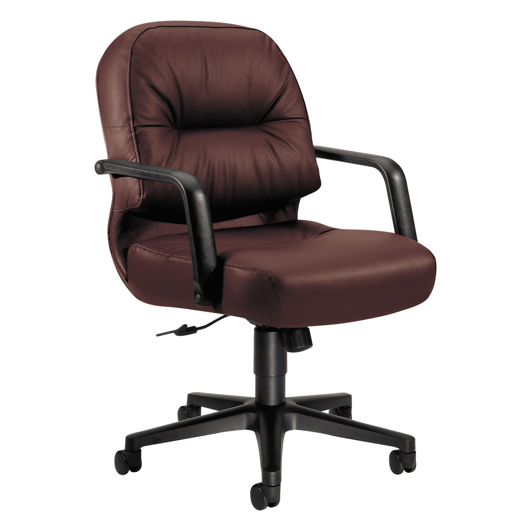 HON 2090 Pillow-Soft Series Managerial Leather Mid-Back Swivel/Tilt Chair, Black
